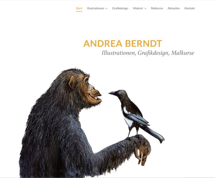 Schimpanse mit Elster - Startseite von andrea-berndt.de