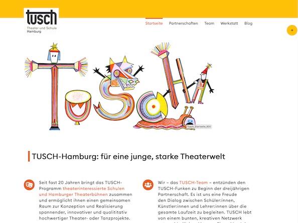 Bildschirmfoto: Startseite tusch-hamburg.de | designed by Digitales für Kreative