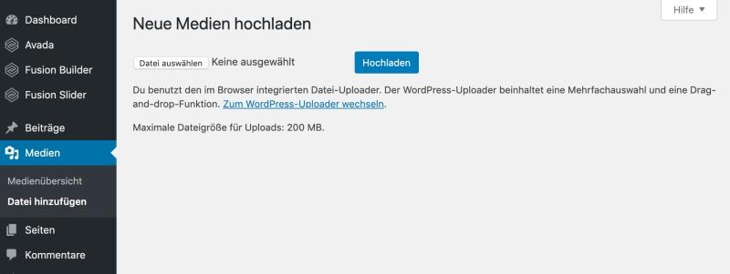 Bildschirmfoto Medien >Datei hinzufügen Browser-Uploader