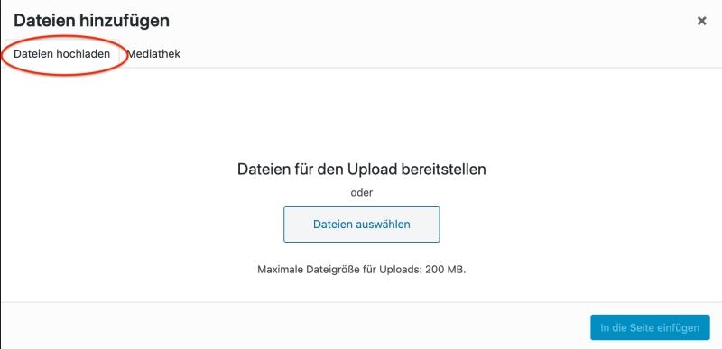 """Bildschirmfoto: Datei hinzufügen - """"On the fly"""" - Tab """"Dateien hochladen"""" hervorgehoben"""