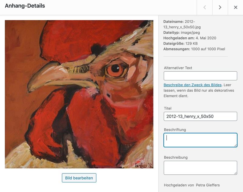 Beispiel Bildschirmfoto Medien Anhang Details - Hahnportrait