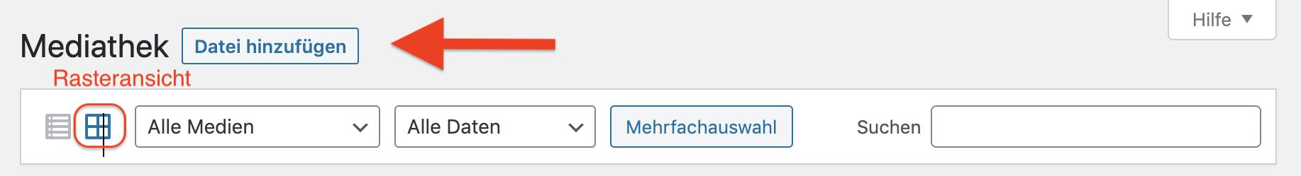 """Bildschirmfoto Kopfzeile Mediathek - Das Symbol für Rasteransicht ist hervorgehoben und ein roter Feil zeigt auf """"Datei hinzufügen"""""""